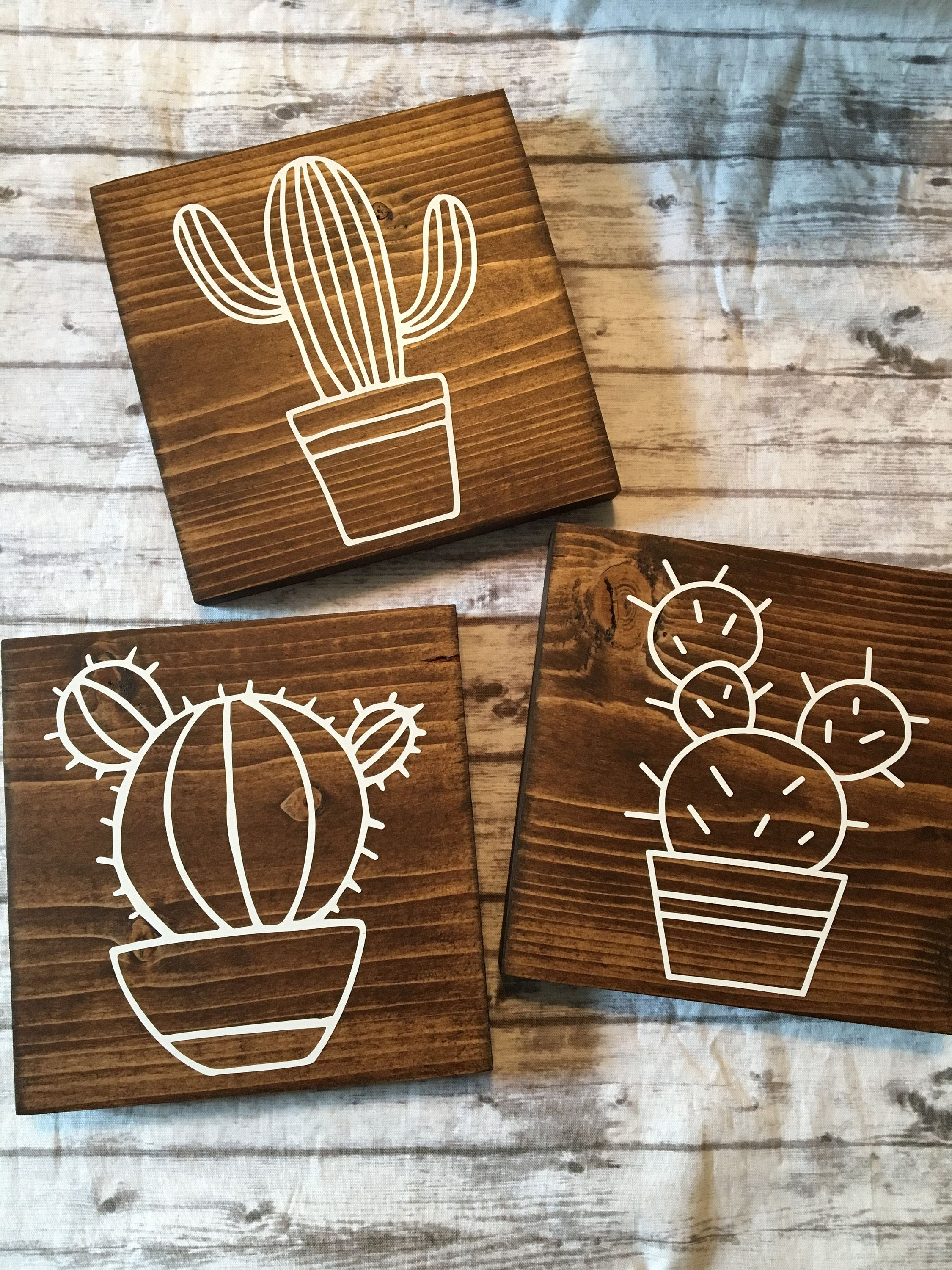 Cactus Wood Signs, 3 piece Cactus Sign, Home Decor