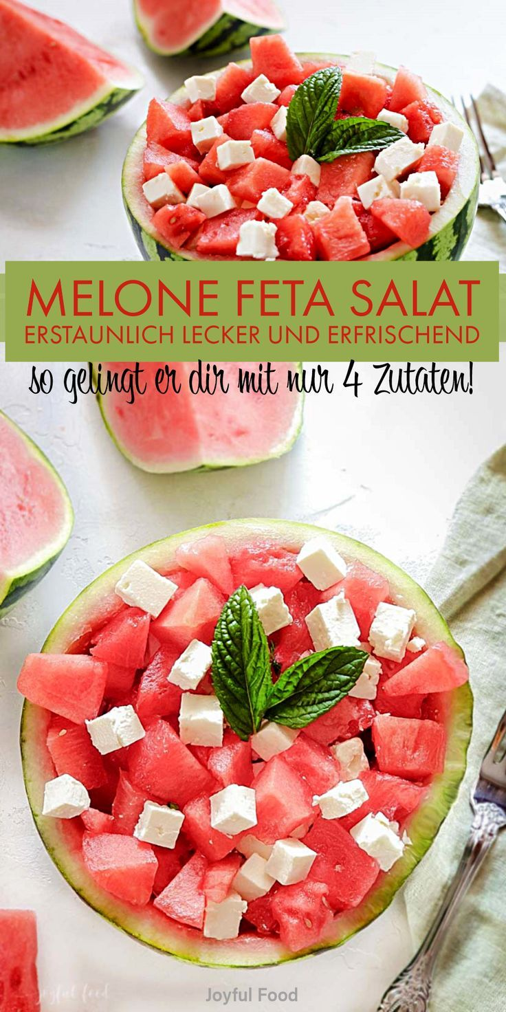 Melone Feta Salat Rezept - erstaunlich lecker & erfrischend | Joyful Food #melonrecipes