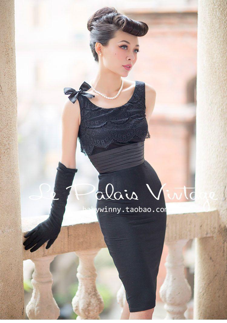abc50afbf20 Le Palais Vintage Elegant Sexy Hepburn Style Lace Black Slim Modal Dress