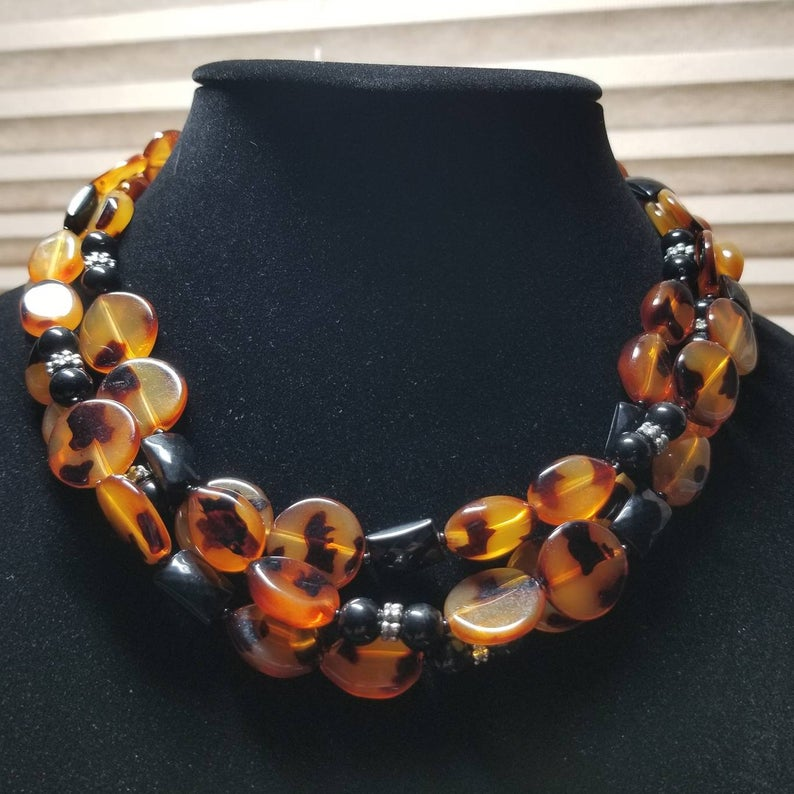 Vintage Tortoise Shell Statement Necklace  Free Shipping
