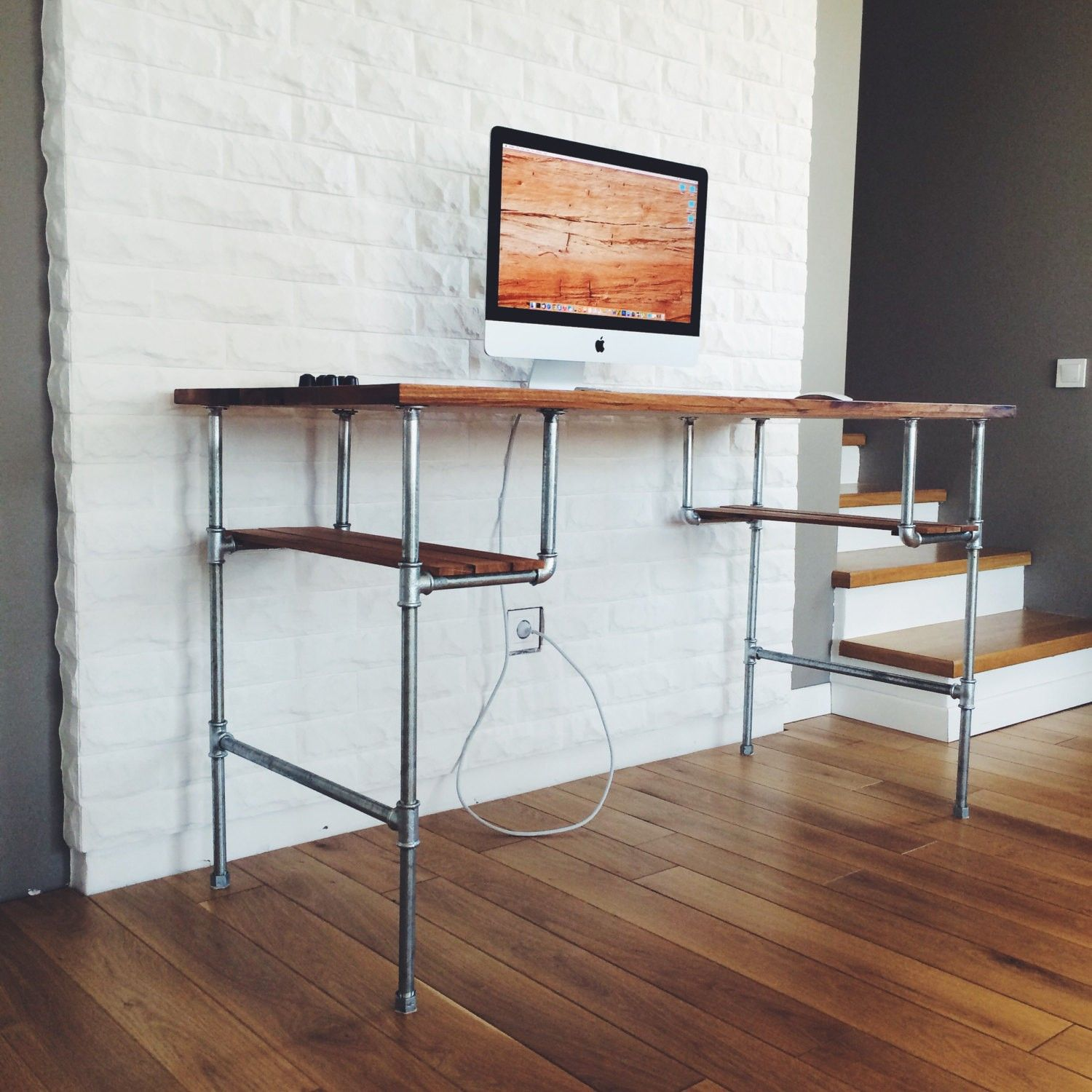 Furniture Brown Varnished Wooden Computer Desk With Chrome Iron Pipe Frame Mixed White Painted Bricks Wall Art Deco Computer Desk  (1500×1500)