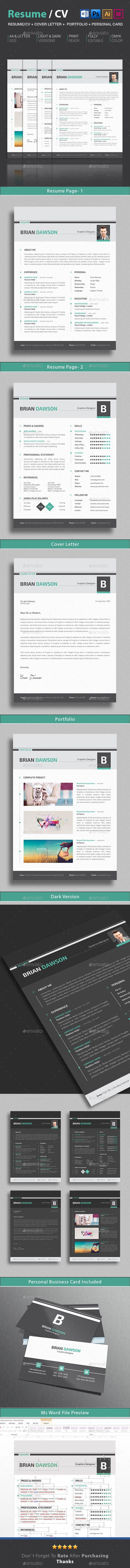 4 Page 2 Layout Resume Template Cover Letter Portfolio