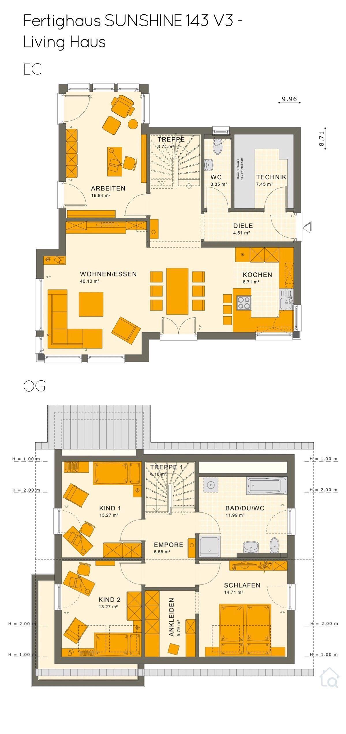Grundriss Einfamilienhaus mit Satteldach 5 Zimmer, 140