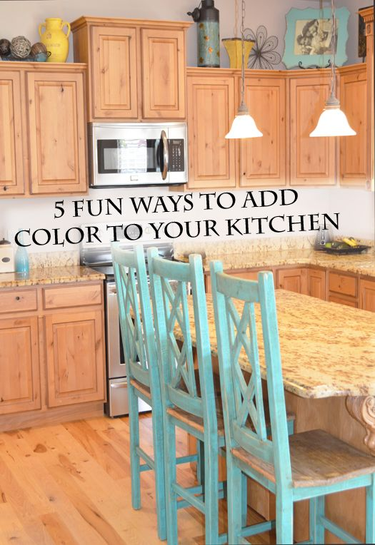 5 Fun Ways To Add Color To Your Kitchen. Paint Bar Chairs An Accent Color.