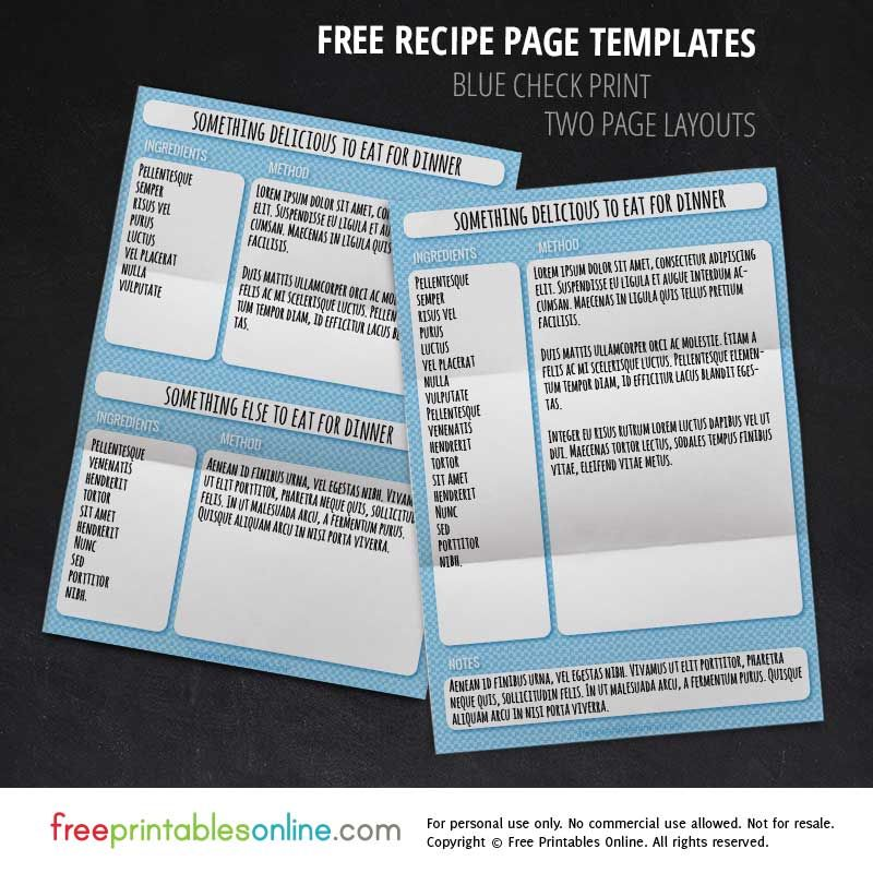 Blue Check Recipe Page Template Set Template, Organizing and Binder - homemade cookbook template