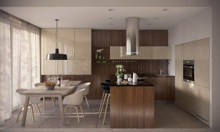 Für das Esszimmer und die Küche bestehen die Möbel aus Holz und ...