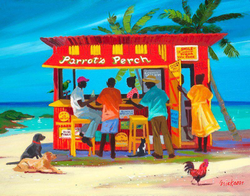 """Parrot's Perch"" by Shari Erickson: http://www.islandstore.net/caribbean-art.html - Island Store"