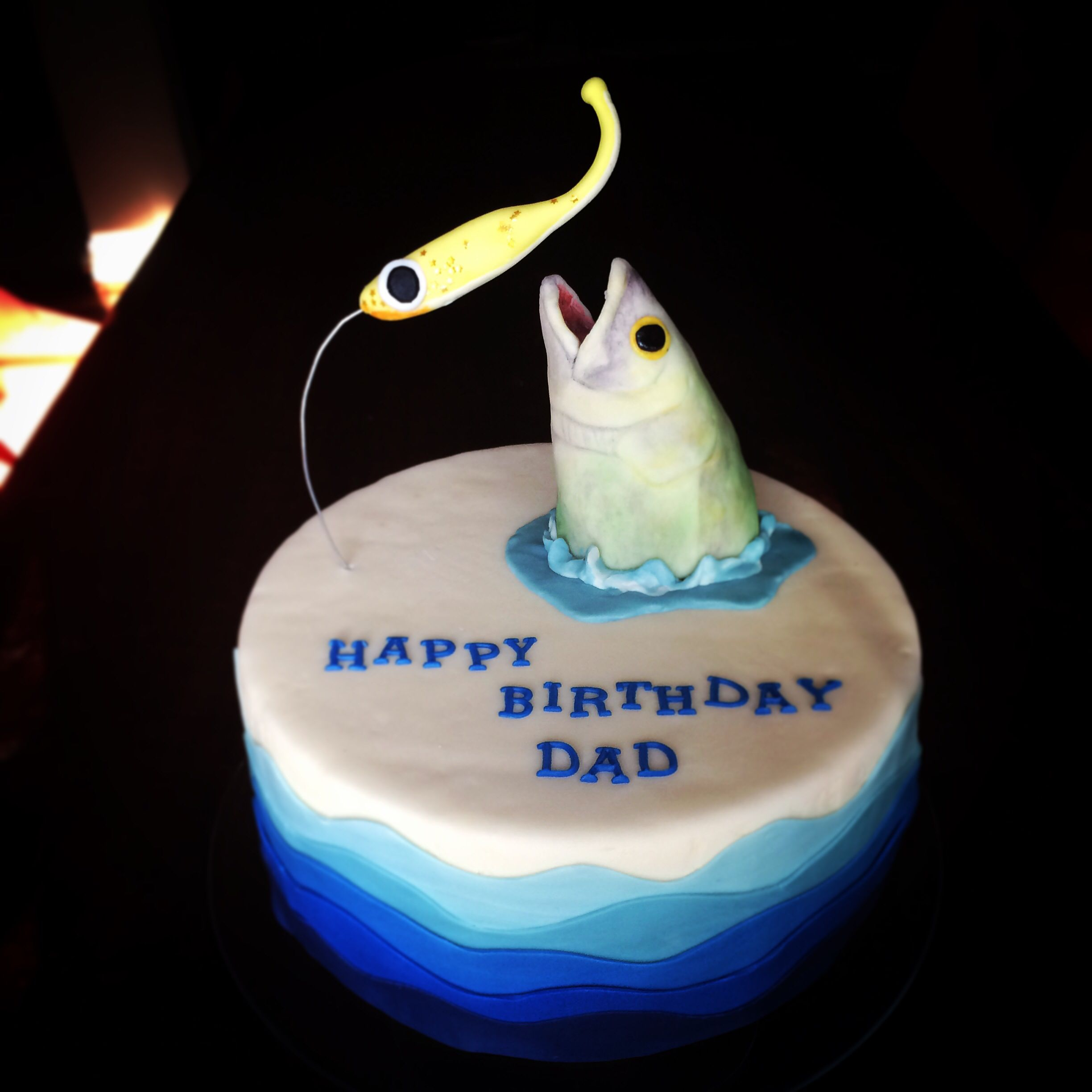 Fondant Fishermans Birthday Cake Fish Going After A Fishing Lure