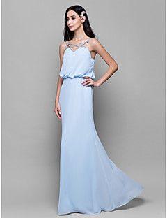 2641f89a3 Vestido de Dama de Honor - Azul cielo Corte Recto Tirantes Espaguetis -  Hasta el Suelo Gasa