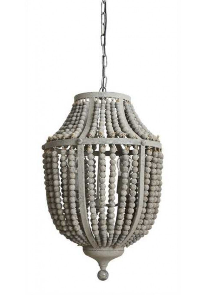 Gray Aged Iron And Wooden Bead Chandelier Hanging Light Fixture Awesome Ideas