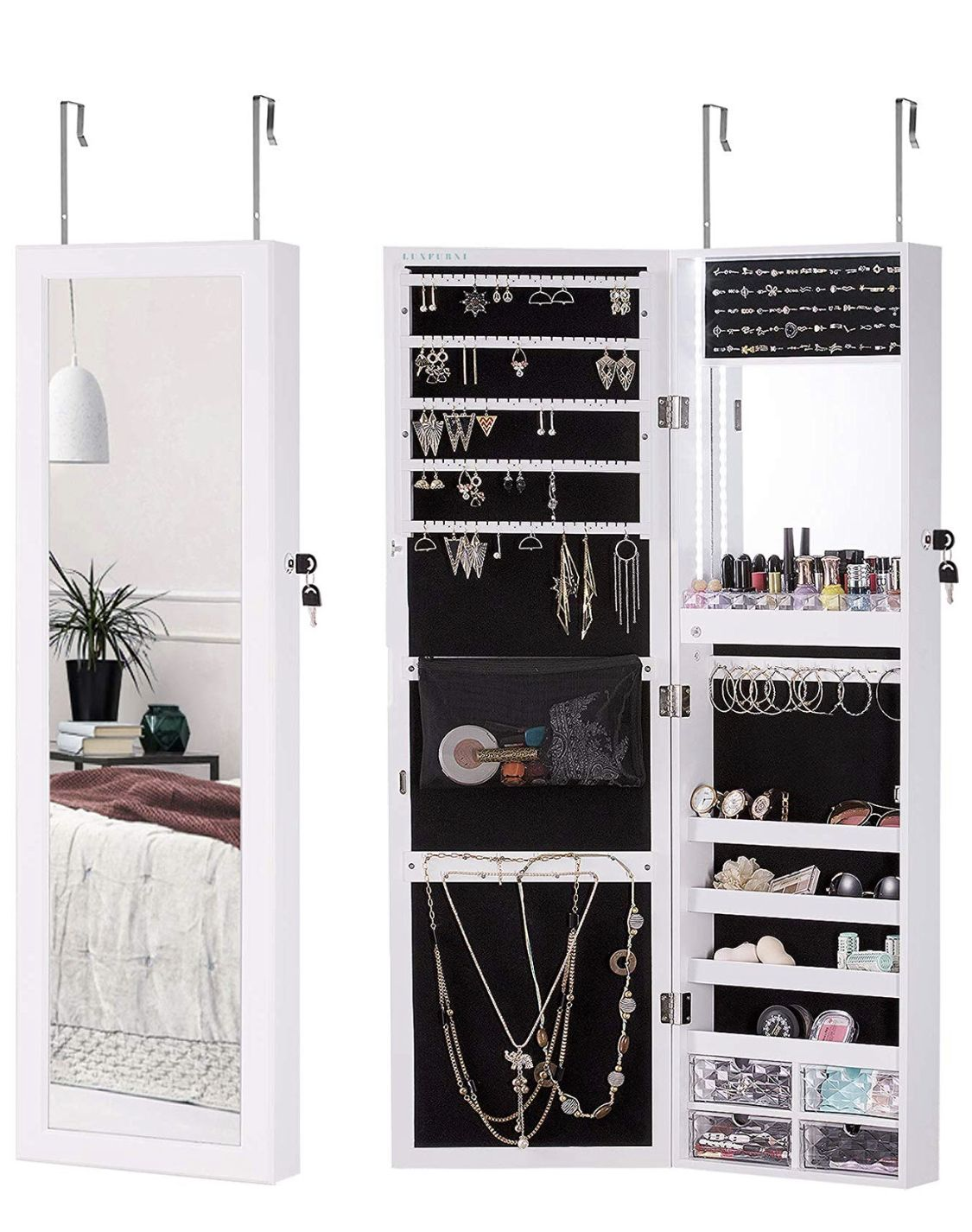 Luxfurni Led Light Jewelry Cabinet Wall Mount Door Hanging Mirror Makeup Lockable Https W Hanging Mirror Mirror Jewelry Storage Wall Mirrors With Storage