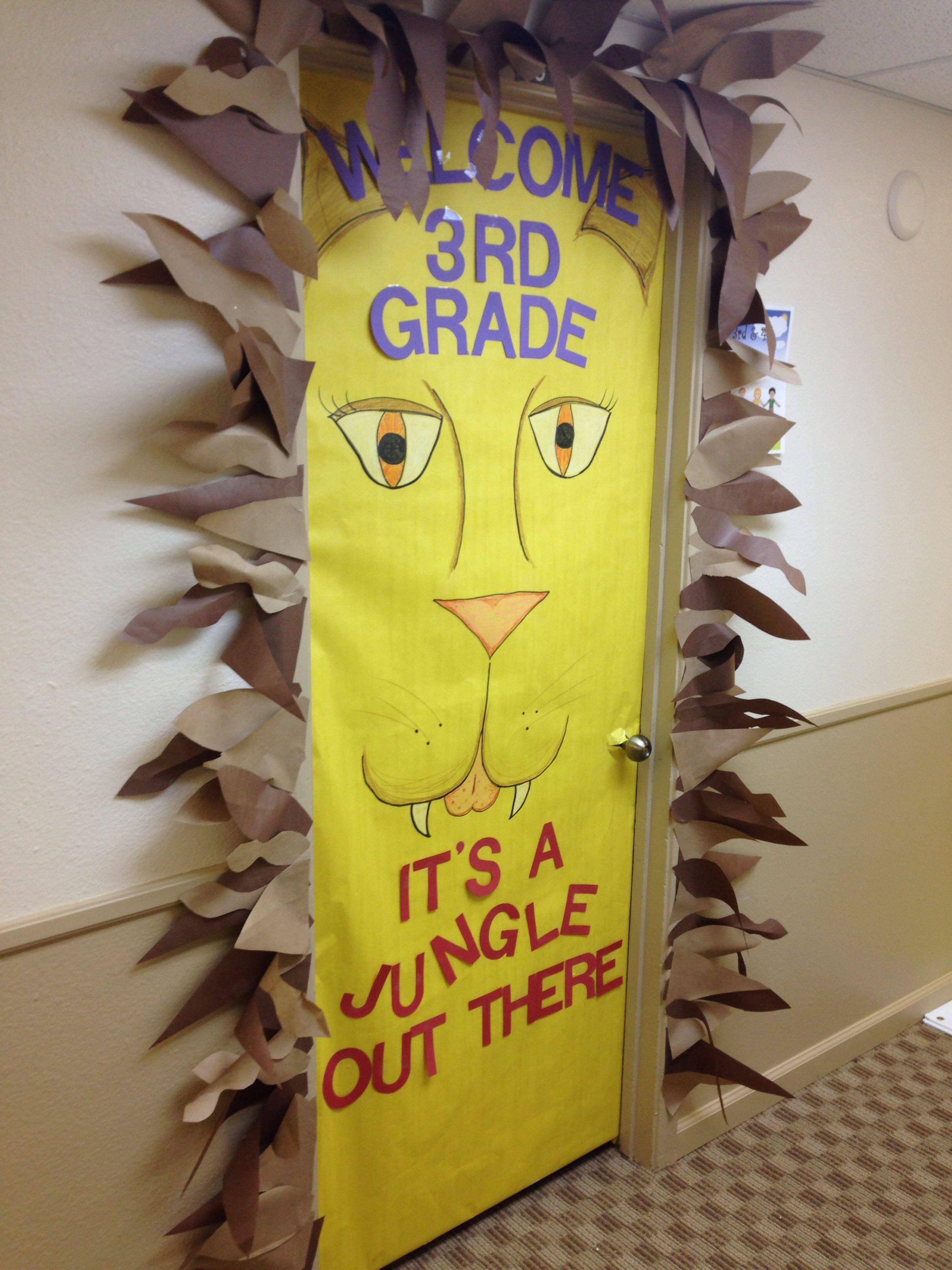 Yellow Classroom Decor : Jungle themed classroom door nursing pinterest classroom door