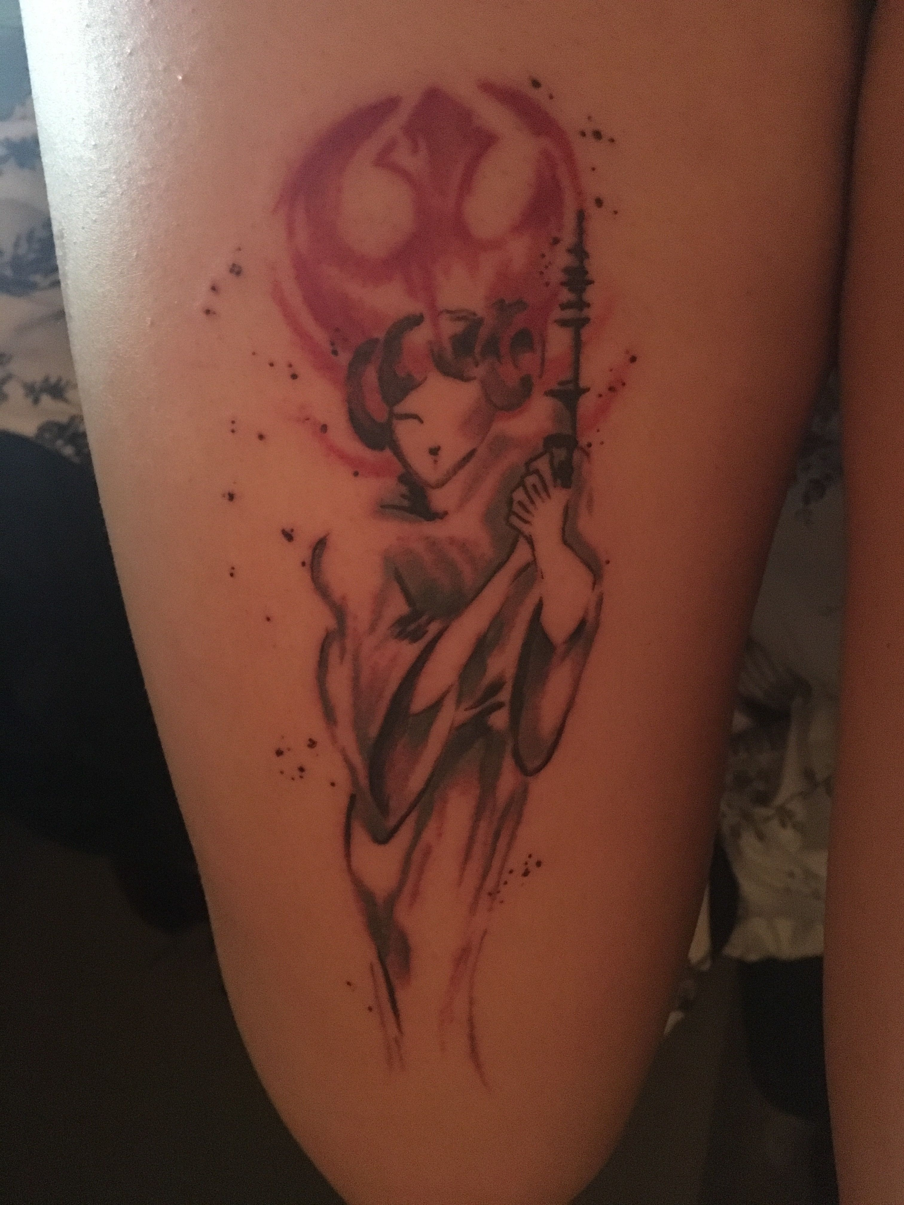 875a58e22 This Princess Leia tattoo that I got is everything to me . Rip Carrie  Fisher, you'll always be with me.