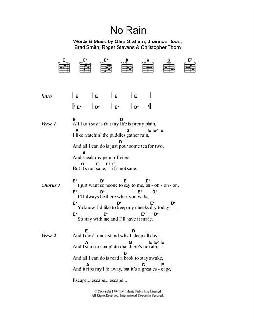 No Rain By Blind Melon Chords Lyrics For Ukulele Ukulele