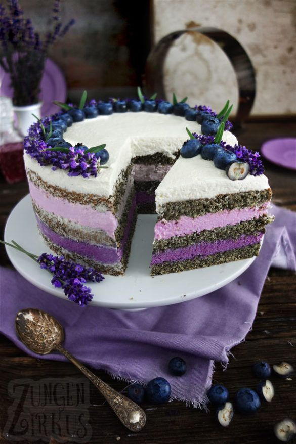 Photo of Naked cake with lavender and blueberries – tongue circus