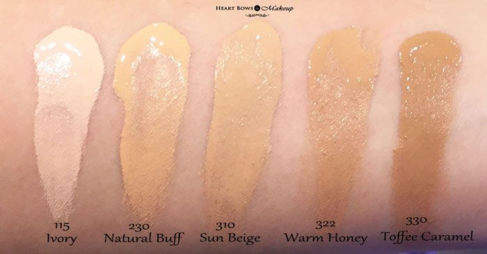 Maybelline Fit Me Foundation Swatches & Review (L-R) Ivory, Natural Buff, Sun Beige, Warm Honey, Toffee Caramel