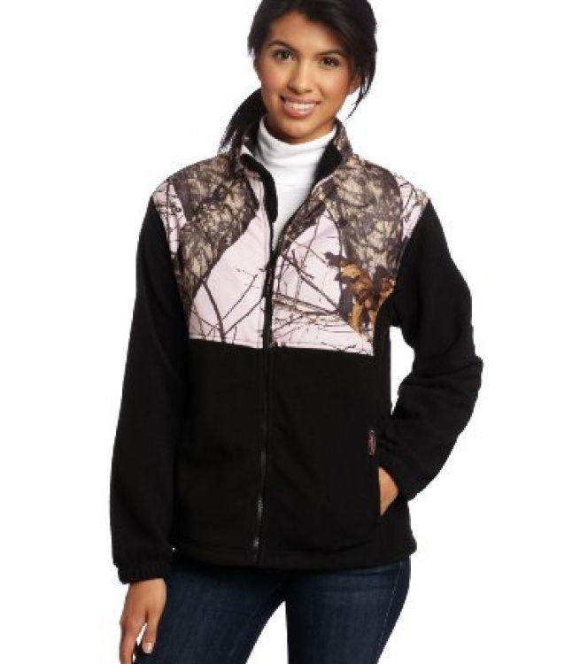 250347b6f1a1b Yukon Gear Women's Casual Fleece Jacket (Black/Mossy Oak Pink Camo, Medium)
