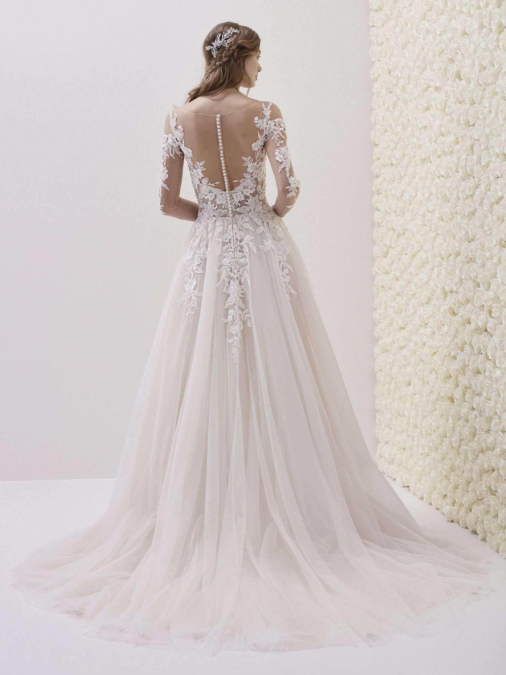 Pronovias Emelina Illusion Neckline Wedding Dress Wedding Dresses