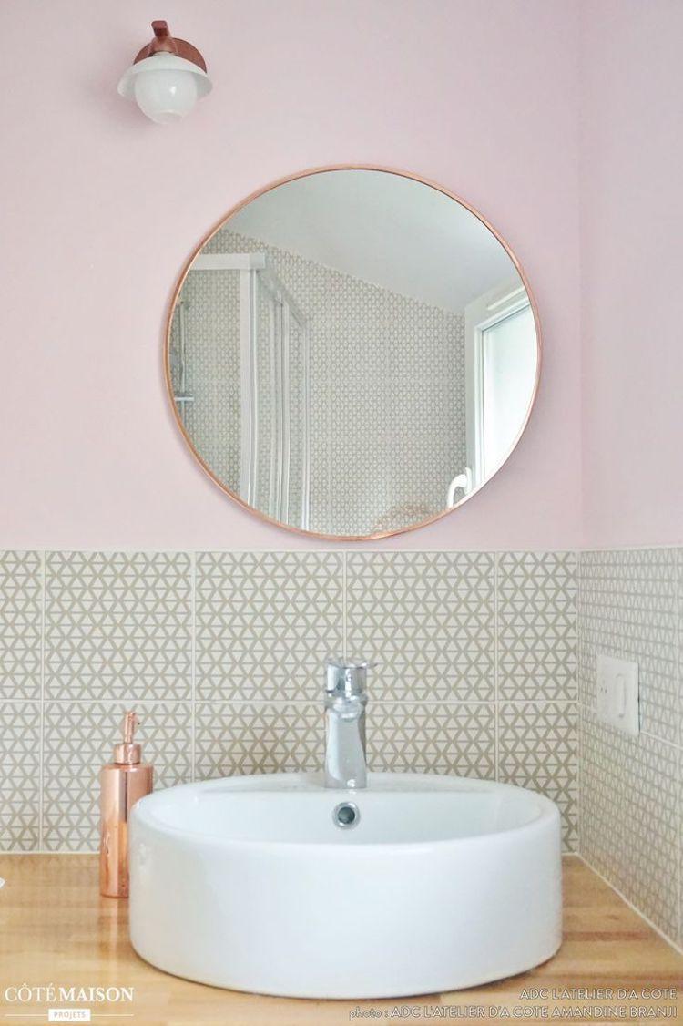 Copper Bathroom Mirror And Copper Soap Dispenser In Blush Pink Wall Bathroom Trendy Bathroom Bathroom Mirror Pink Bathroom