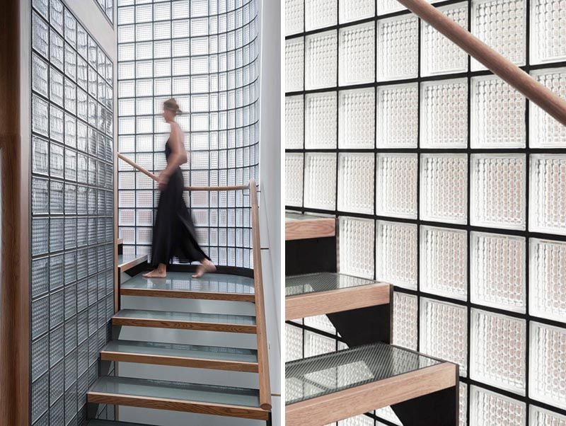The Walls Of Glass Blocks Surrounding These Stairs Help To Provide