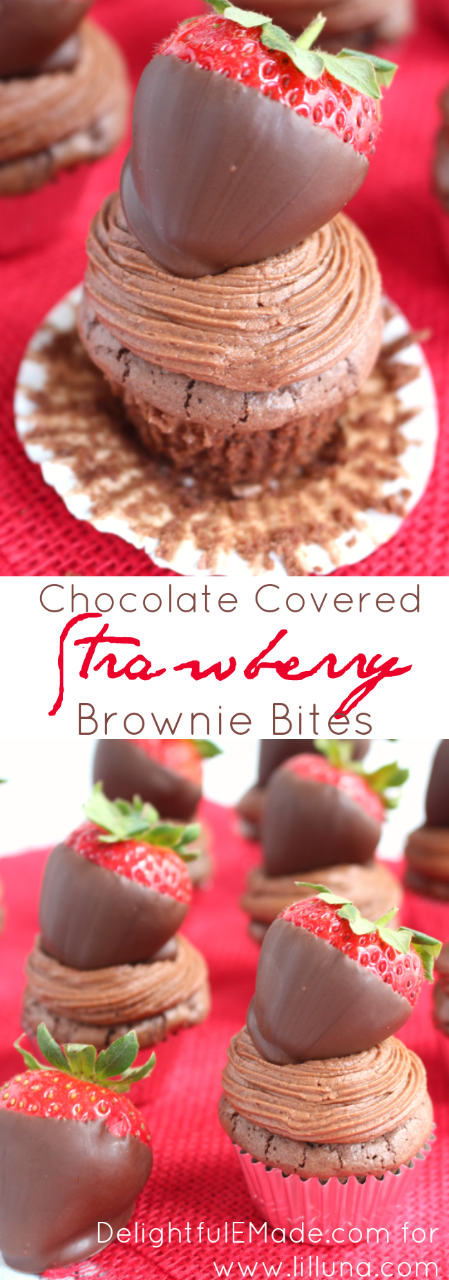 The most delicious little brownies you'll ever eat!  Rich, fugdy mini brownies are frosted with a cocoa cream cheese frosting and topped with a chocolate covered strawberry.  A chocolate-lovers dream!