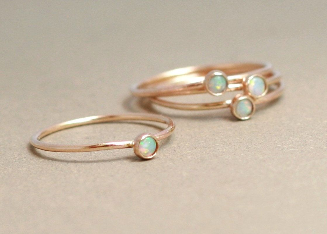 opal wedding rings SOLID 14k gold opal ring ONE delicate stackable birthstone ring mothers ring engagement ring