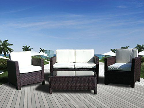 The Miami Beach Collection 4 Pc Rattan Wicker Sofa Set Wicker