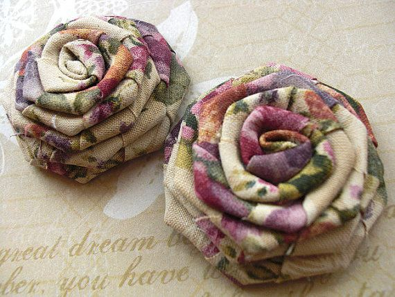 2 PKHandmade Fabric Roses for DIY Fashion and other by chicnclassy, $4.50