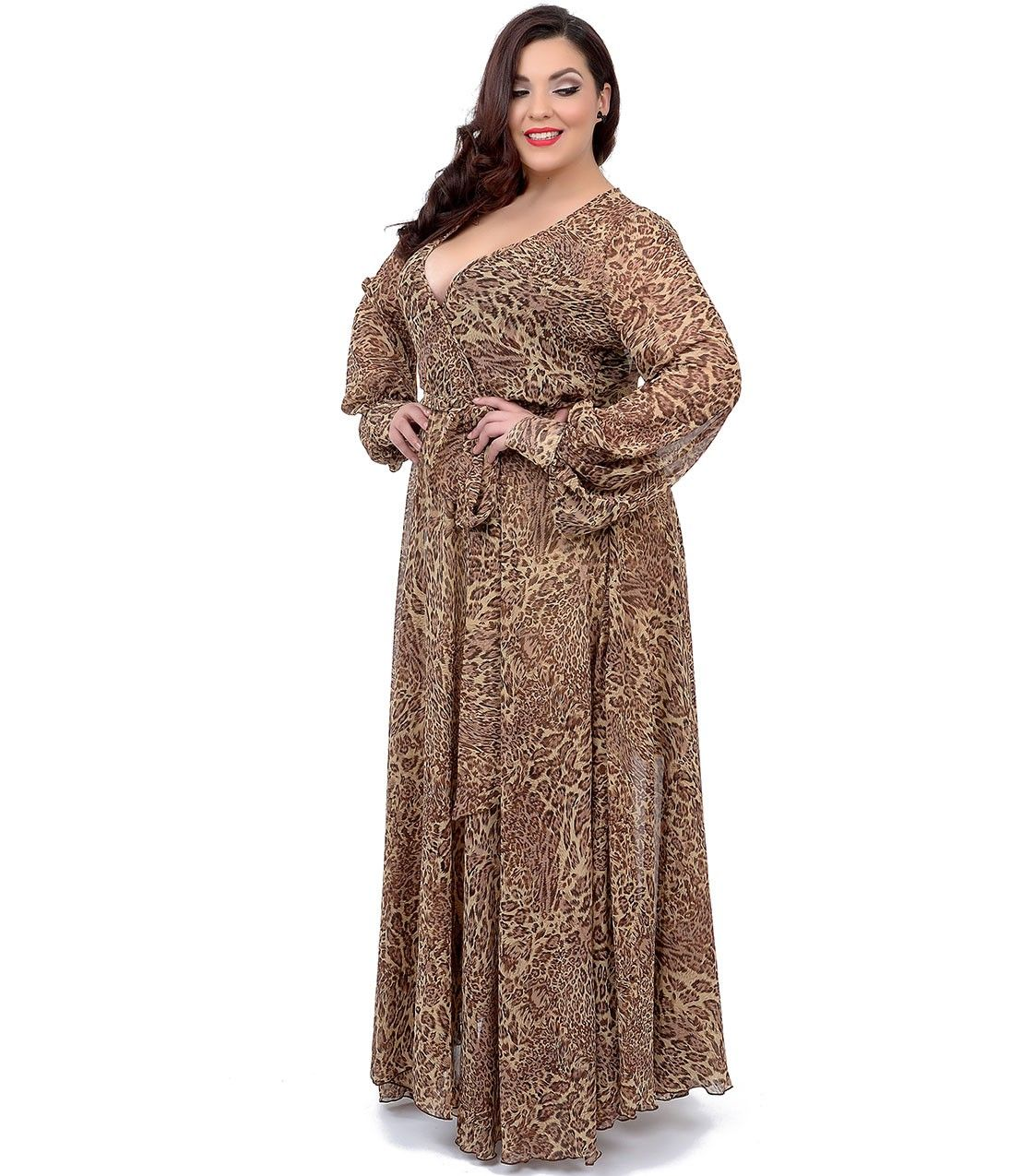 Plus Size s Style Brown Cheetah Print Long Sleeve Maxi Dress
