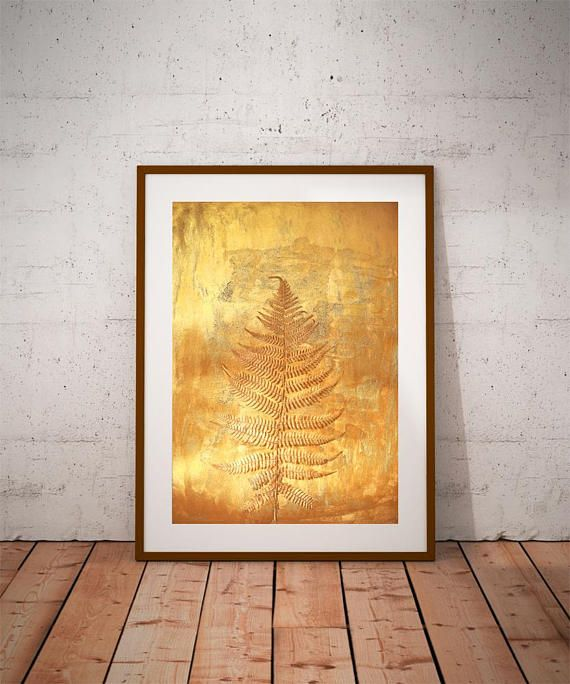 Botanical prints, gold wall art, fern prints, large canvas photo ...