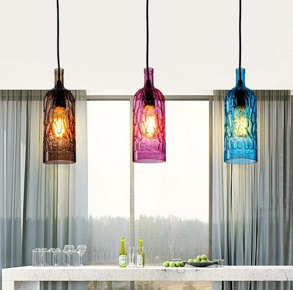 Estilo loft de botellas de vidrio droplight edison - Lamparas para comedor colgantes ...