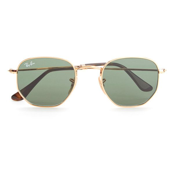 e97736eb82 Ray-Ban Hexagonal Metal Frame Sunglasses - Gold Green (4 165 UAH) ❤ liked  on Polyvore featuring accessories