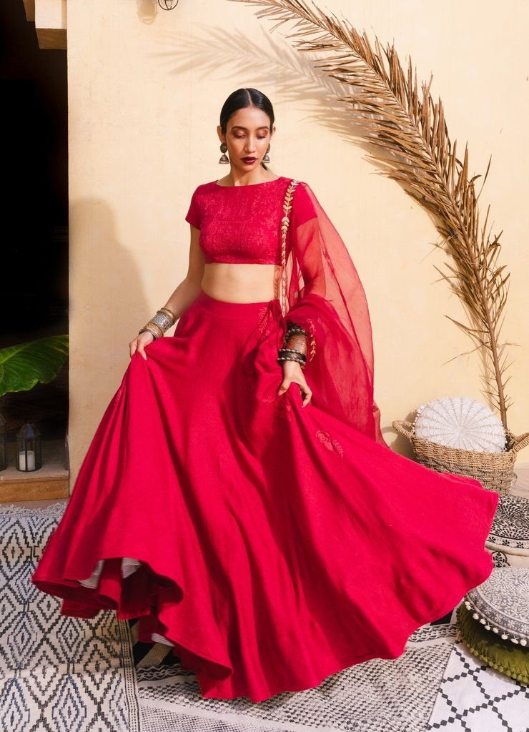Bohemian Bridal Red & Gold Lehenga Set #blousedesigns
