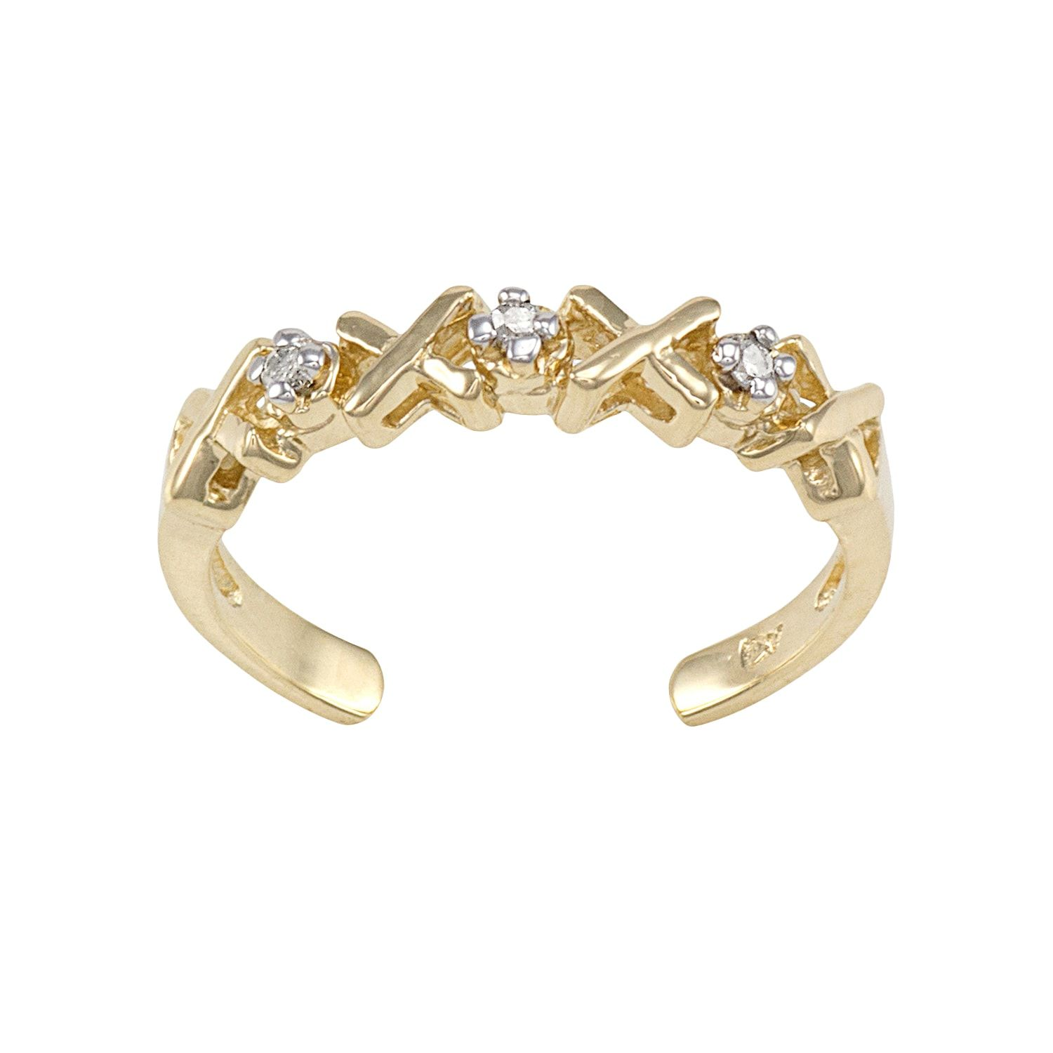 Diamond Accent 10k Gold Xo Toe Ring Accent Diamond Gold Ring Toe Rings Beautiful Jewelry Jewelry