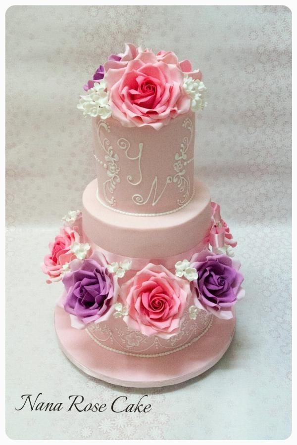 Engagment pink Cake  by Nana Rose Cake