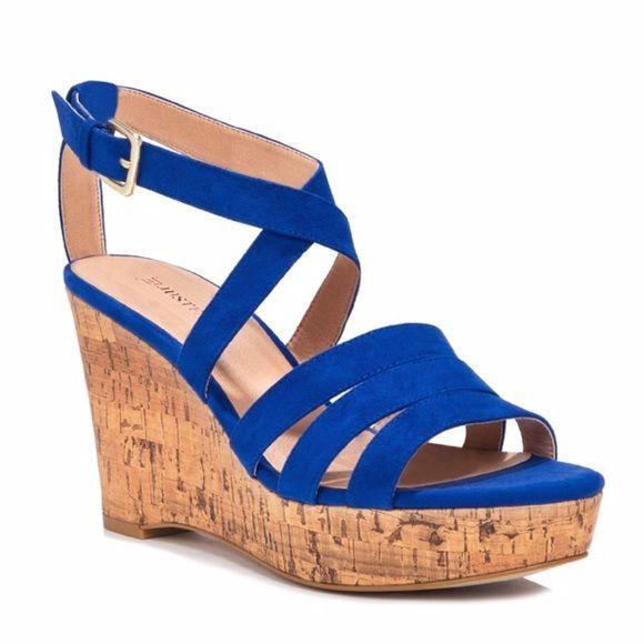 0e99688093ee Cobalt Blue Wedge Platform Sandals Gorgeous cobalt blue faux suede 3