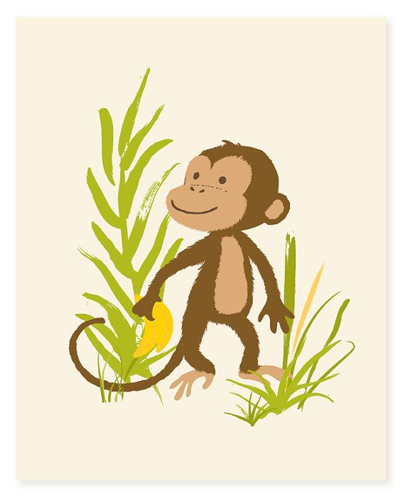 Monkey wall art - safari zoo art for kids, boys art - nursery wall ...