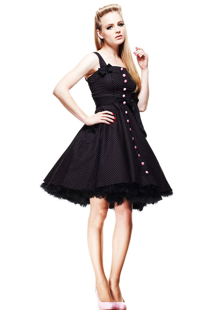 Hell Bunny - Ladies Dress Gery 50's Polka Dot Blk and Pink