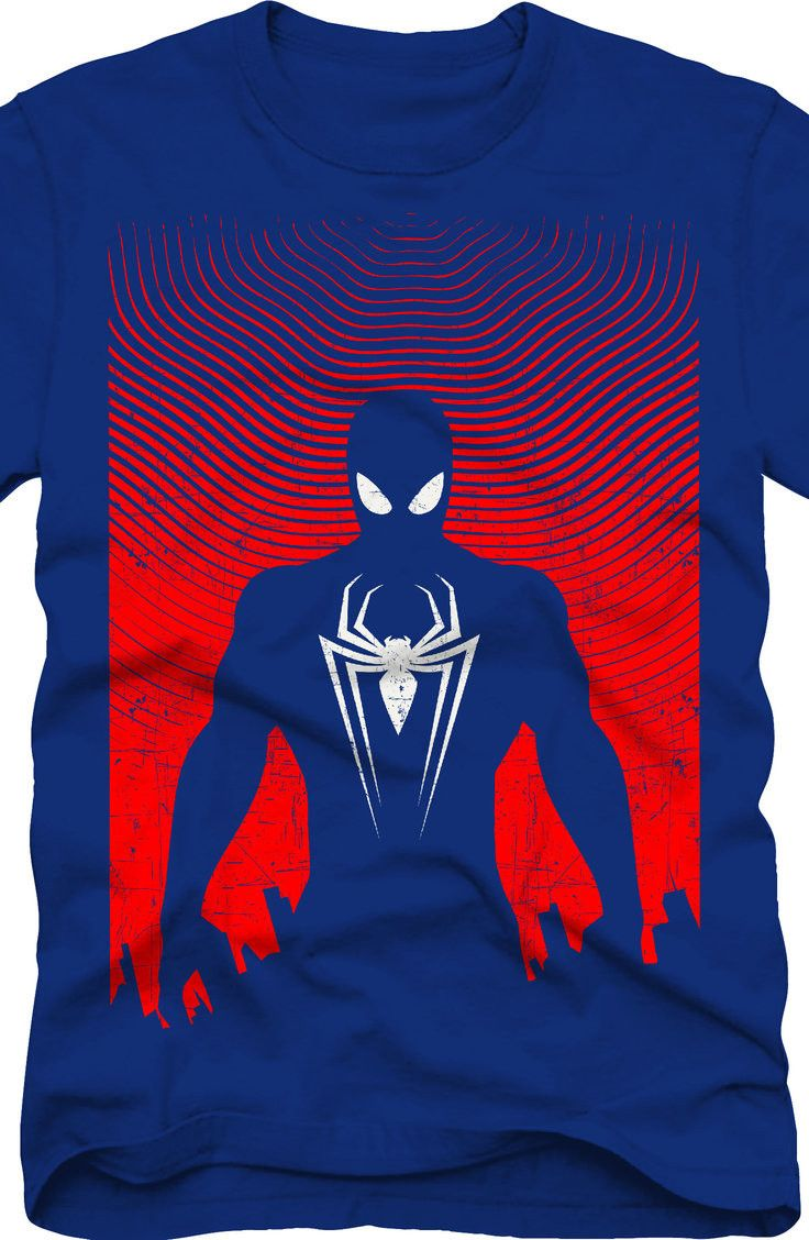 ff180133659 Silhouette Spider-Man T-Shirt  Marvel Comics Spider-Man Mens T-Shirt ...