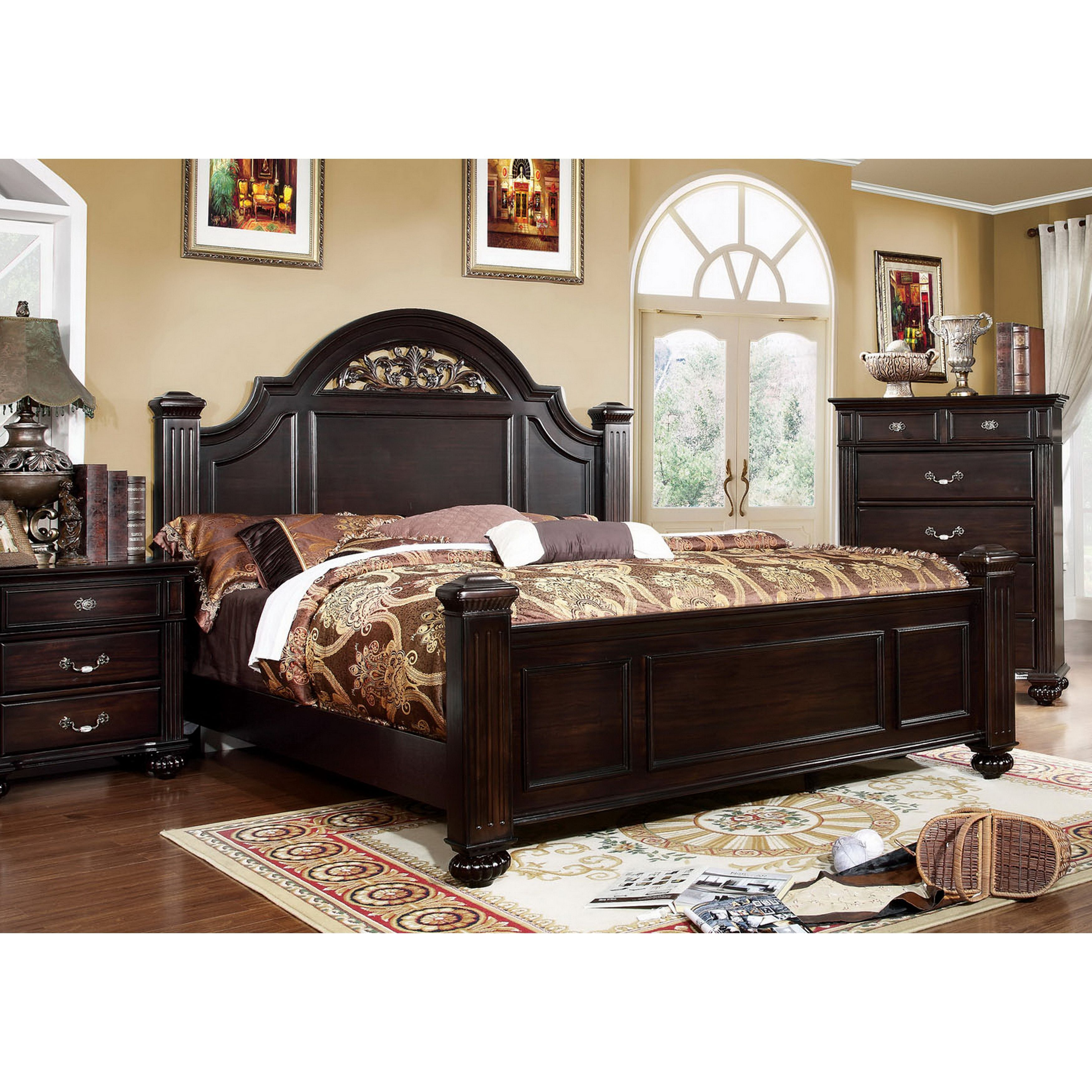 Cheap Bedroom Furniture Online: Furniture Of America Vame Traditional Walnut Queen Solid