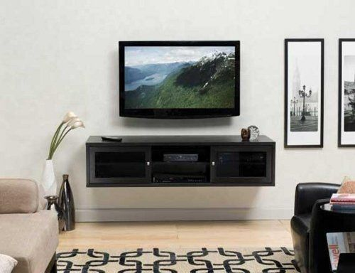 Neat Wall Mount Cabinet Idea For Tv Components Beneath Flat