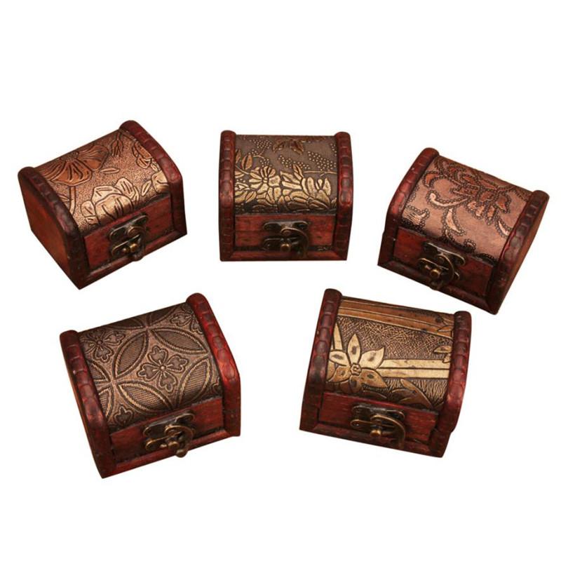 Vintage Wood Treasure Chest Wooden Jewellery Storage Box Case Organizer Gift Box