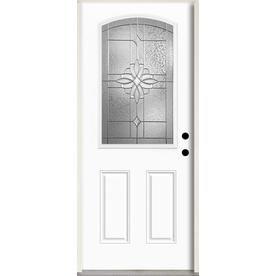 Reliabilt Laurel Half Lite Decorative Glass Left Hand Inswing Fiberglass Prehung Entry Door With Insulating Core Common Reliabilt Glass Decor Entry Doors
