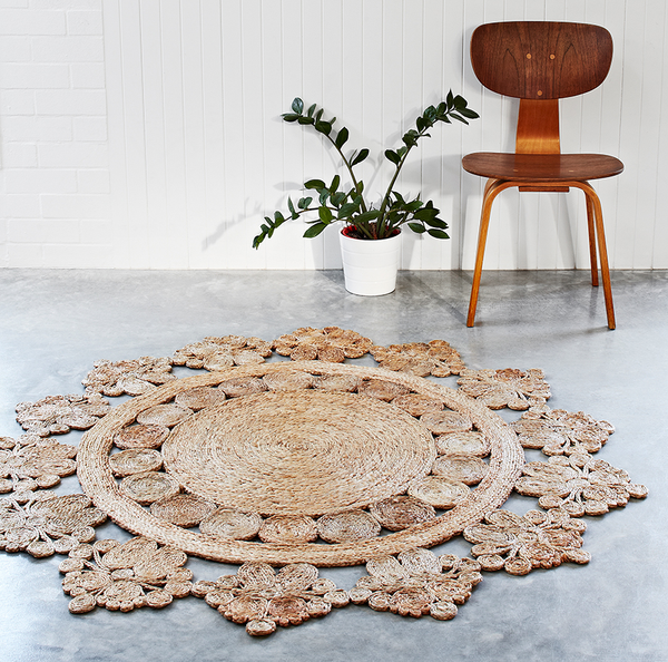 HAND WOVEN DOILY CROCHET ROUND HEMP RUG Hand Crafted By