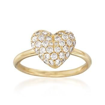 Ross-Simons - C. 1990 Vintage .85 ct. t.w. Diamond Heart Ring in 18kt Yellow Gold. Size 6.5 - #841817