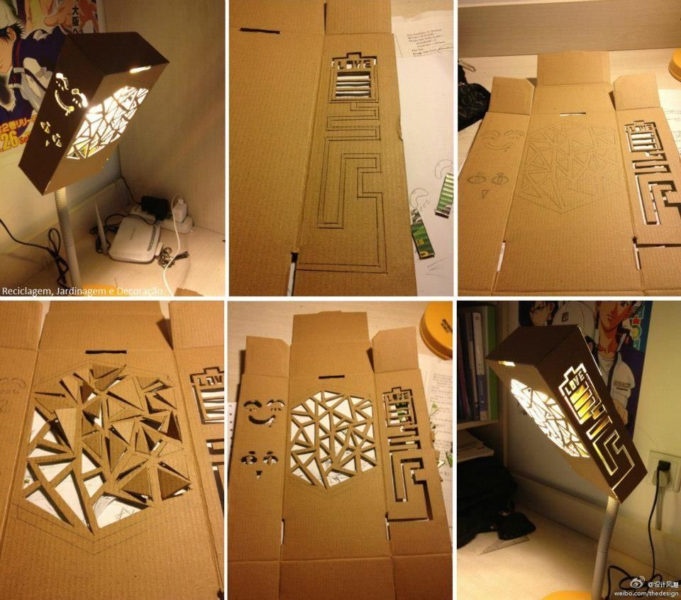 diy une lampe en carton papier carton pinterest luminaires meuble carton et carton. Black Bedroom Furniture Sets. Home Design Ideas