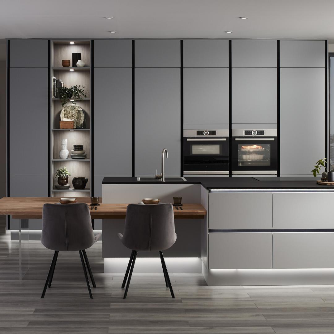 Hockley Super Matt Slate Grey Handleless Kitchen In 2020 Contemporary Grey Kitchen Modern Kitchen Grey Floor Handleless Kitchen