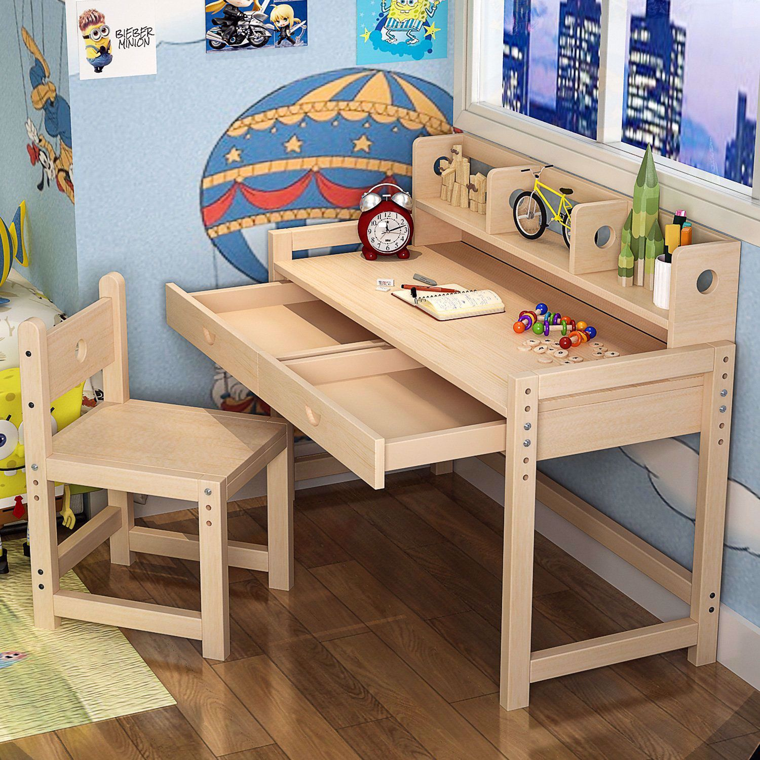47'' Height Adjustable Solid Wood Writing Children's