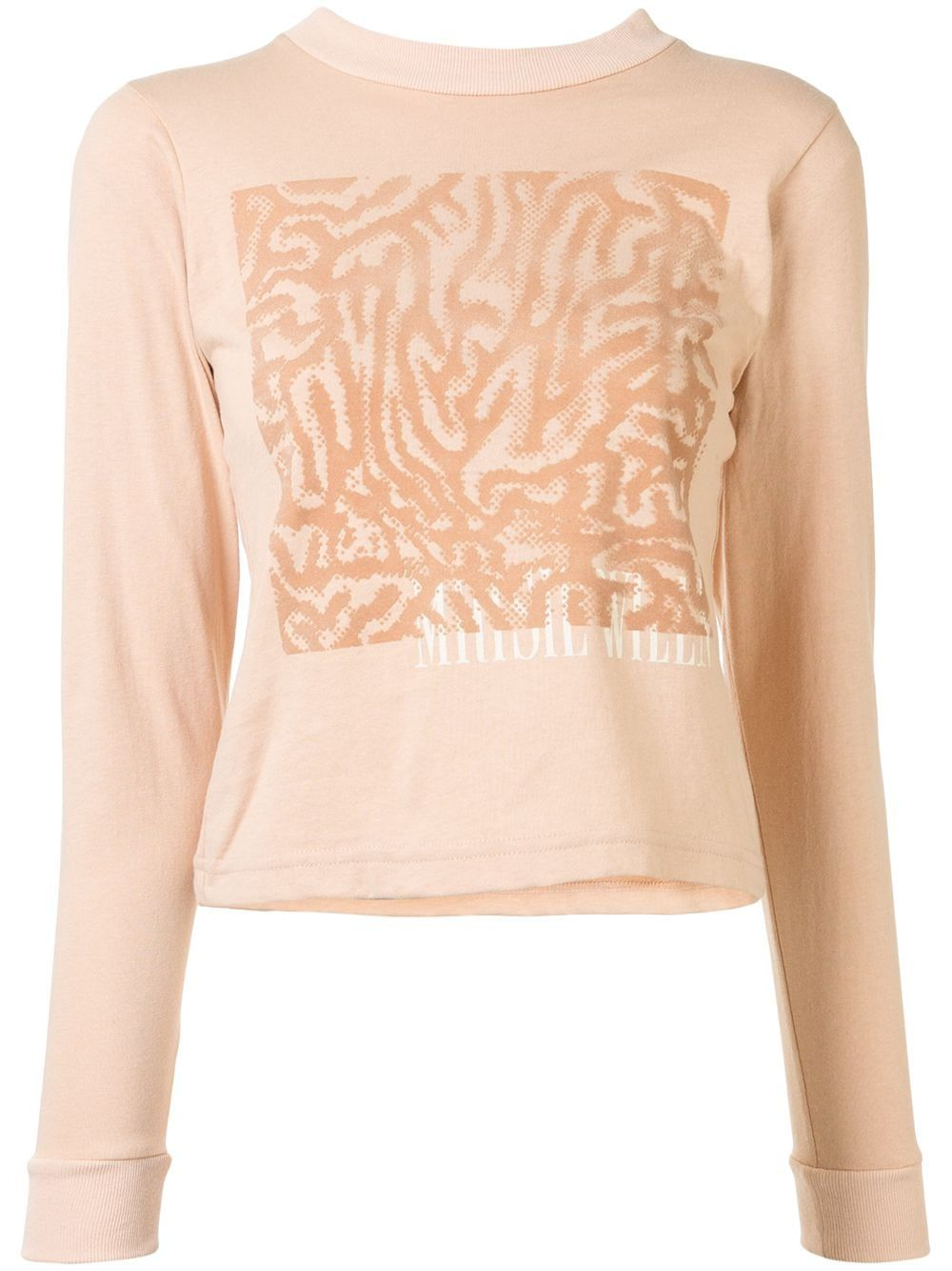 Beige cotton YS104 graphic T-shirt from Maisie Wilen featuring a ribbed collar, a print to the front, long sleeves, ribbed cuffs and a straight hem.