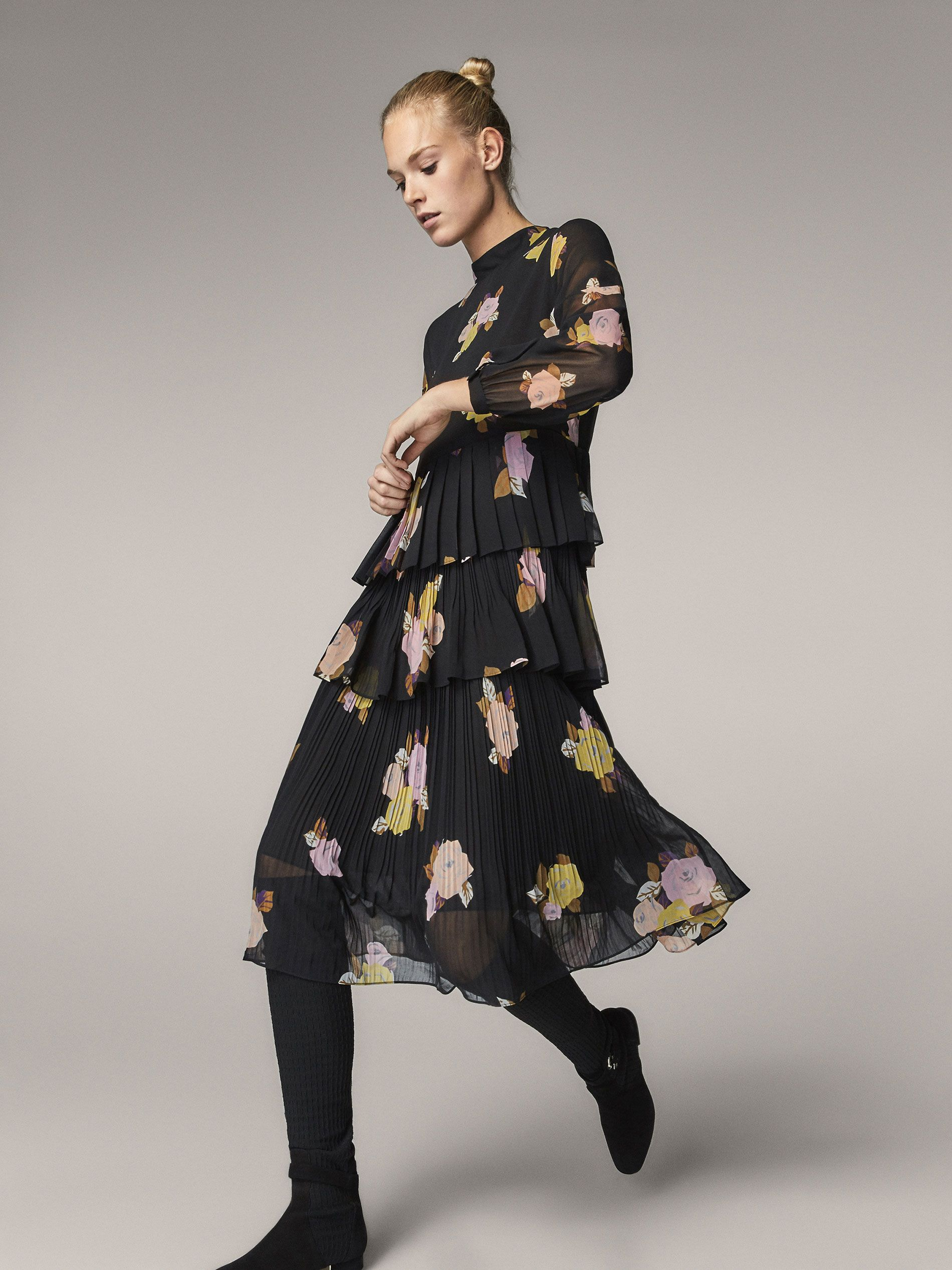 e2299164478 FLORAL PRINT PLEATED DRESS - Women - Massimo Dutti | Zara | Dresses ...